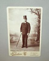 Antique Vtg 1880s Very Dapper Dude Top Hat Cane Cabinet Card Photo Photograph