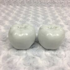 White Apple Ceramic Decorative Collectible Salt and Pepper Shakers Set