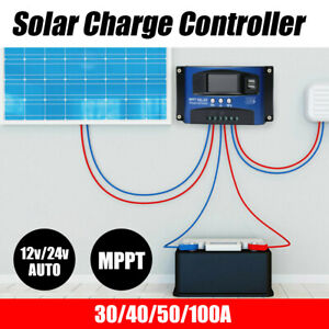 30/40/50/100A Solar Panel Charge Controller 12V 24V Regulator Auto Dual USB Mppt