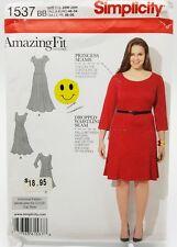 Plus Size Princess Seam Dress Pattern 1537 Size 20W 22W 24W 26W 28W New