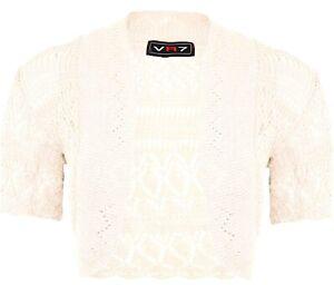 Girls Bolero Shrug Cardigan Crochet Knitted Short Sleeve Kids Size 2-13 years