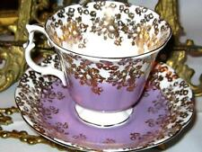 Vintage HEAVY GOLD CHINTZ ROSES & LAVENDER Royal Albert Tea Cup and Saucer Set