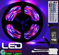 Waterproof  5M SMD RGB 5050 150 LED Strip Light 44 Key Remote 12V 5A Power Kit