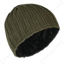 Chunky Heavy Knit Fleece Lined Beanie Skull Cap Hat - Green - One Size