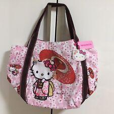 F/S Hello Kitty Manufatto Japanese Kimono Sakura Umbrella Bag from Kyoto Japan