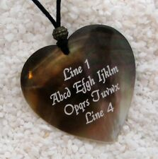 Custom Engraved Shell HEART Pendant Necklace - BLACK LIP SHELL