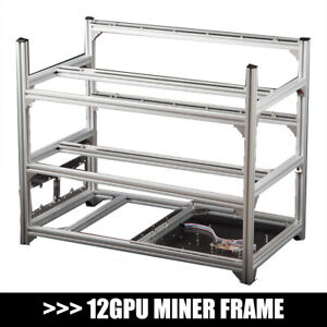 Aluminum Open Air Mining Rig Stackable Frame Holder For 12GPU ETH Ethereum LOT Y