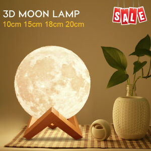 Rechargeable 3D Luna Night Light Moon Lamp 2 Color Change Touch Switch 10-20cm