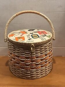 Vintage Round Wicker Sewing Basket W/ FruitsFloral Top And Handle/Tray/Japan