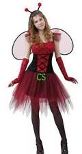 NWT-Teen Girls 5 Pc Red Black Sassy Ladybug Fairy Halloween Costume-sz OS
