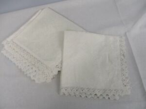 """6 PRETTY FLORAL COTTON DAMASK NAPKINS with LACE EDGE ~ 16"""""""
