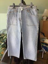 New Blue Denim Stripe Crop Jeans Size 12