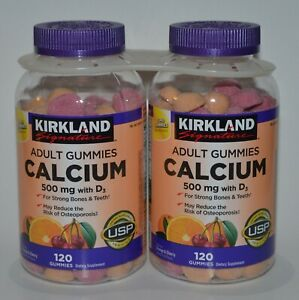 240 KIRKLAND SIGNATURE CALCIUM ADULT GUMMIES 500MG VITAMIN D3 FRUITY SUPPLEMENT