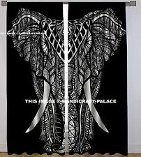 Indian Cotton Elephant Mandala Curtain Window Door Cover Hanging Drape Tapestry