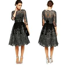 Chic Lady Retro Lace Floral Half Sleeve Evening Formal Cocktail Party Mini Dress