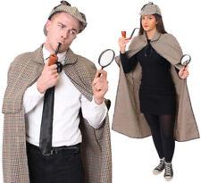 ADULTS SHERLOCK HOLMES DETECTIVE COSTUME CAPE HAT WORLD BOOK DAY FANCY DRESS