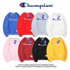Champion men's and women's embroidery classic round neck plus velvet sweatshirt