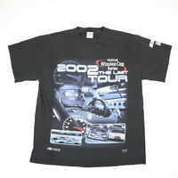 Vtg 2K 2002 Winston Cup Tour T-Shirt Faded Black Racing Grunge Mens LARGE