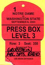 9/6/03 NOTRE DAME/WASHINGTON STATE FOOTBALL PRESS PASS