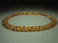 Vintage Bohemian Citrine, Amber & Amethyst Faceted Glass Beads Necklace Long