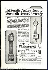 1929 TELECHRON & REVERE CLOCKS advertisement, electric grandfather clock
