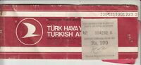 1981 TURTEY TURKISH AIRLINES PASSENGER TICKET WITH RS100 AIRPORT TAX REVENUE