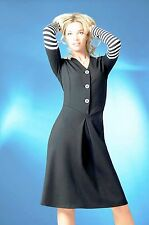 DRESS WEAR TO WORK CASUAL CONTRAST MADE IN EUROPE BLACK LONG SLEEVE STRETCH XL