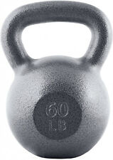 Cast Iron Kettlebell 60-lbs Single Gym Weight Lifting Fitness Training Exercise