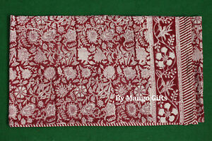 India Hand Block Print Tablecloth 100%Cotton Floral Rectangular 60*90 Inch Red