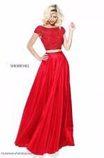Sherri Hill 50802 Peacock Blue Stunning Prom Crop Top Gown Dress sz 10