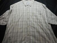 Columbia Taupe blue red Plaid Short Sleeve Button large Men's Shirt