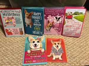 X6 Corgi Dog Greeting Card's Premium- Mother's Fathers Day Valentines
