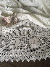 Vintage White Cotton Floral Lace Curtain Drape Panel Pair