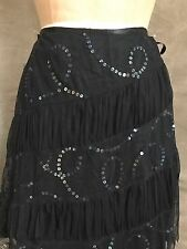 LUX Urban Outfitters Black Mesh Net Tulle SEQUIN TIERED SKIRT 9