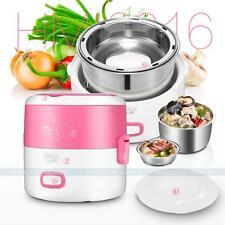 Pink 1.3L Electric Lunch Box 2 layer Stainless Stee Inner Pot Mini Rice Cooker