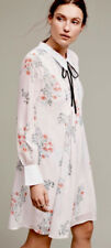 New Anthropologie HD in Paris LOUISA Sz Petite Med White Blue Collar Swing Dress