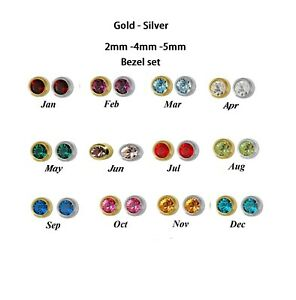 Ear Piercing Sterile Ear Studs Stainless Steel Stud Earrings Colour Crystal