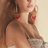 Fashion Big Heart Hoop Earrings Gold Women Lady Large Hoops Earrings Jewelry US