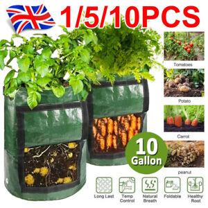 10x 10 Gallon Planting Growing Bags Potato Tomato Veg Garden Balcony Planters UK