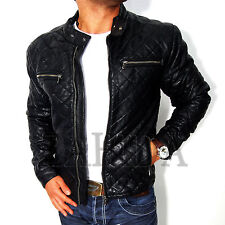 hombre chaqueta de cuero artificial negro look Abrigo AMERICANA S M L XL NUEVO
