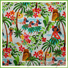 BonEful Fabric FQ Cotton Quilt VTG Hawaii Flower Sexy Luau Sm GIRL Pin Up Beach