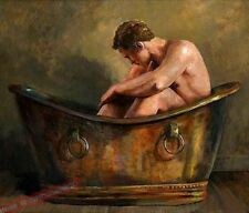 """Hand Paint Sexy Art portrait oil painting The NUDE NAKED MAN Gay Male 24""""x36"""