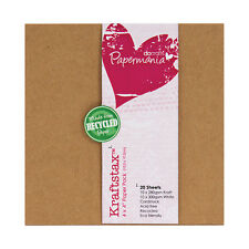 """Papermania Recycled 4x4"""" Kraftstax scrapbooking card 280gm 10 each brown & white"""