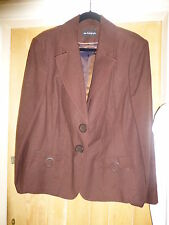 MARKS & SPENCER AUTOGRAPH CHOCOLATE LINEN MIX LINED JACKET SIZE 24