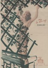 """PIN-UP au RAISIN"" Affiche originale entoilée Offset Roger BRARD 1950-51 34x51cm"