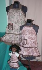 3 pc Pink Village Scenes Apron Set for Adult, Child & American Girl Doll AGAPS22