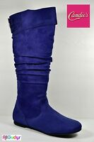 2bc51047019d Candies Women s Boots Blue Faux Suede Flat Heel Mid-Calf High Boots