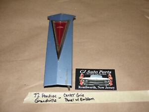 OEM 73 Pontiac Grandville CENTER GRILL FILLER EMBLEM PANEL #488235