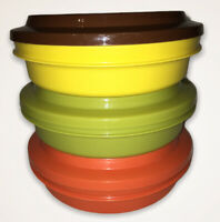 VTG Tupperware Set of 3 Seal N Serve Bowls #1206 Duo Seals #1207 Harvest Fall