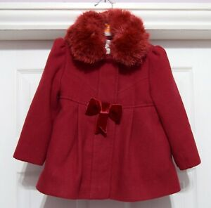 Monsoon baby girl detachable faux fur collar coat in good condition